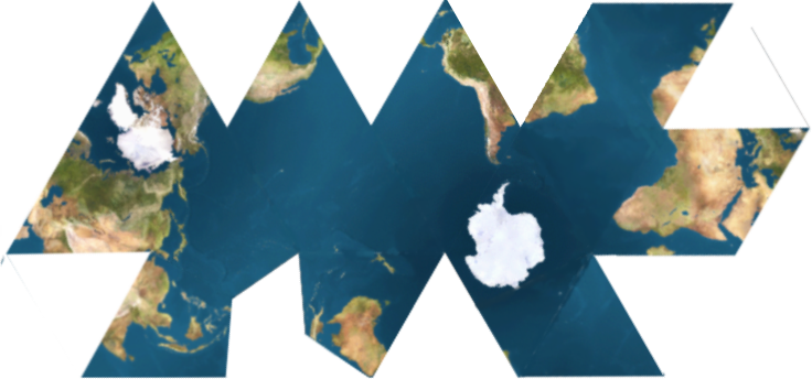 Dymaxion map unfolded